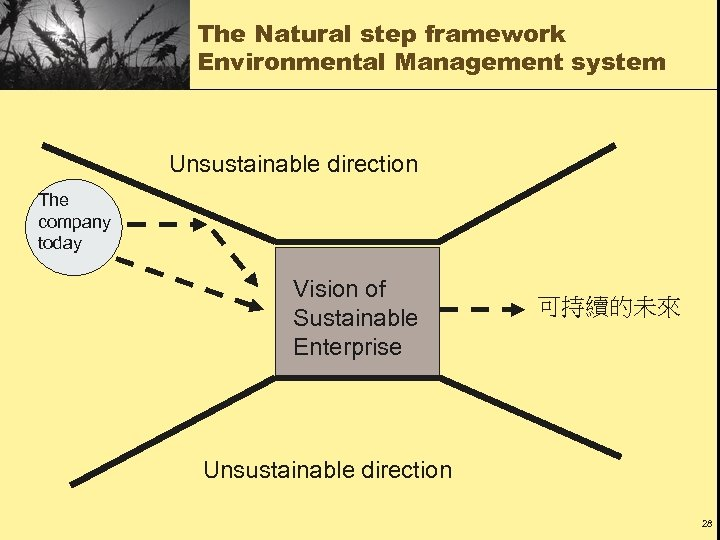The Natural step framework Environmental Management system Unsustainable direction The company today Vision of