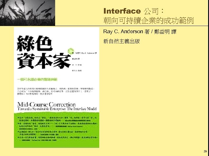 Interface 公司: 朝向可持續企業的成功範例 Ray C. Anderson 著 / 鄭益明 譯 新自然主義出版 29