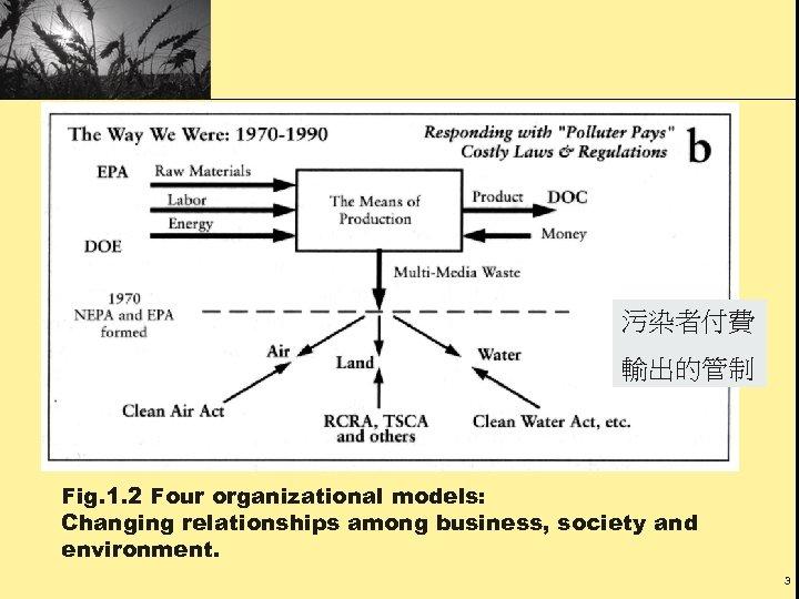 污染者付費 輸出的管制 Fig. 1. 2 Four organizational models: Changing relationships among business, society and