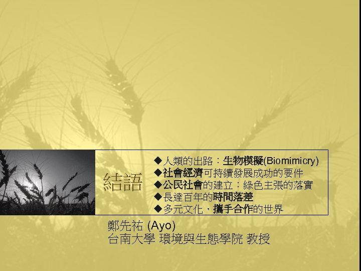 結語 u人類的出路:生物模擬(Biomimicry) u社會經濟可持續發展成功的要件 u公民社會的建立:綠色主張的落實 u長達百年的時間落差 u多元文化,攜手合作的世界 鄭先祐 (Ayo) 台南大學 環境與生態學院 教授