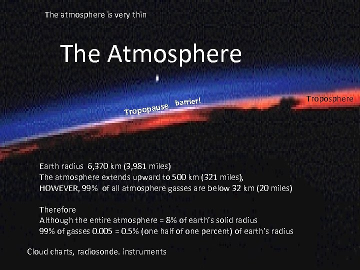 The atmosphere is very thin The Atmosphere rrier! se ba opopau Tr Earth radius