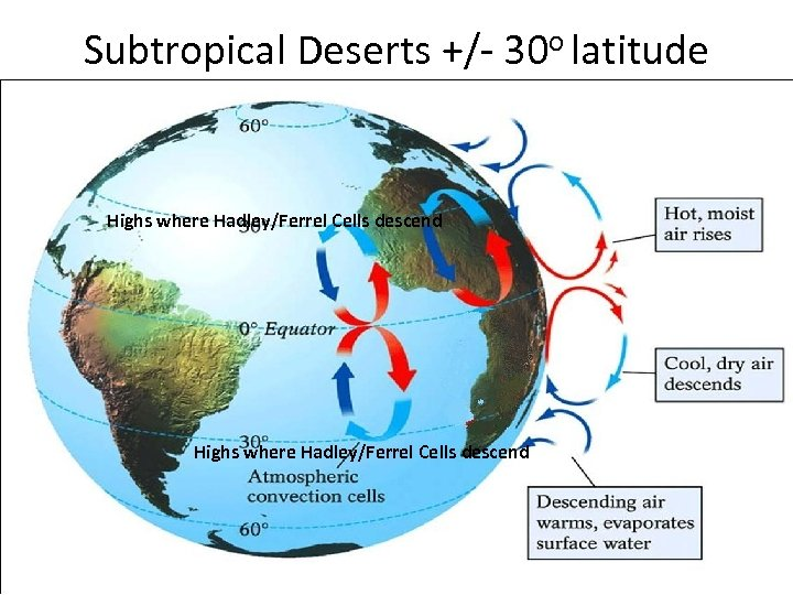 Subtropical Deserts +/- 30 o latitude Highs where Hadley/Ferrel Cells descend