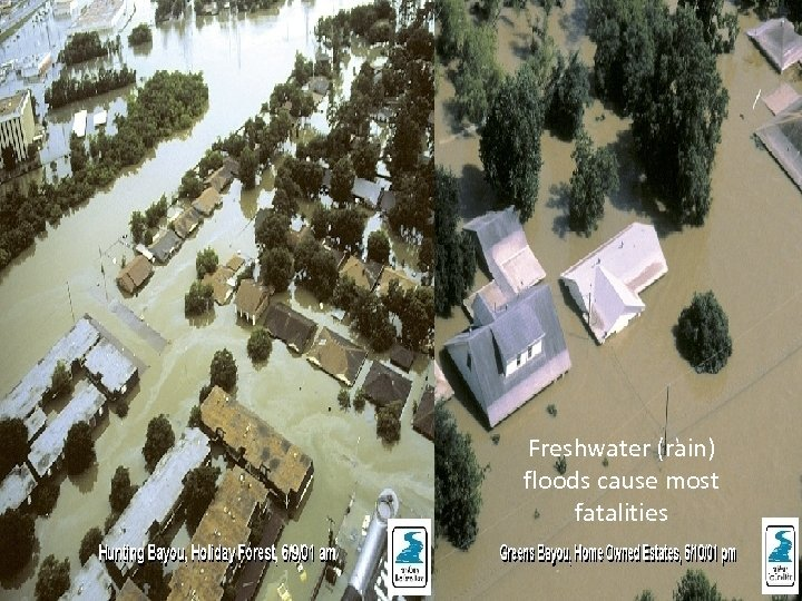 Freshwater (rain) floods cause most fatalities