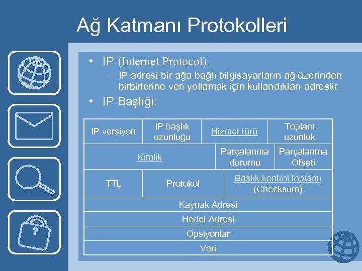 Ağ Katmanı Protokolleri • IP (Internet Protocol) – IP adresi bir ağa bağlı bilgisayarların