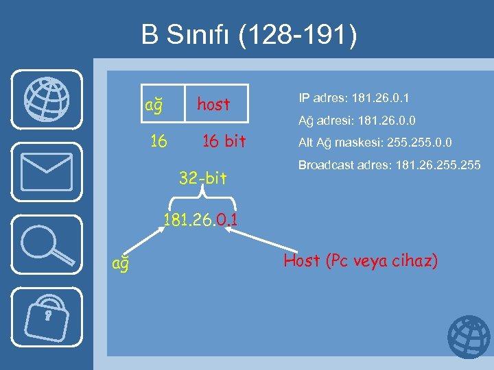 B Sınıfı (128 -191) ağ host 16 16 bit 32 -bit IP adres: 181.
