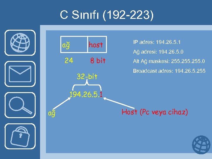 C Sınıfı (192 -223) ağ 24 host IP adres: 194. 26. 5. 1 8