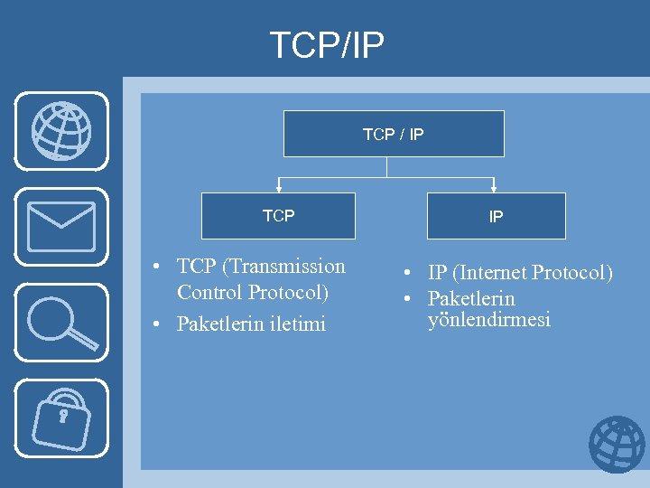 TCP/IP TCP / IP TCP • TCP (Transmission Control Protocol) • Paketlerin iletimi IP