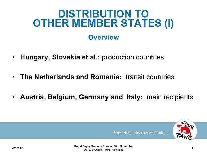DISTRIBUTION TO OTHER MEMBER STATES (I) Overview • Hungary, Slovakia et al. : production