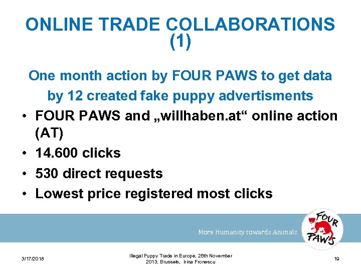 ONLINE TRADE COLLABORATIONS (1) One month action by FOUR PAWS to get data by