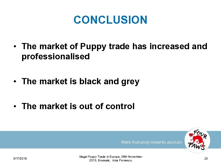 CONCLUSION • The market of Puppy trade has increased and professionalised • The market