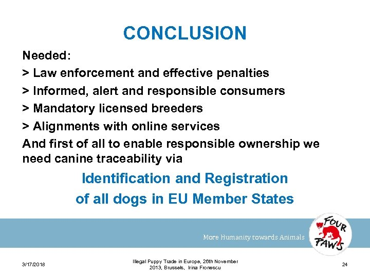CONCLUSION Needed: > Law enforcement and effective penalties > Informed, alert and responsible consumers