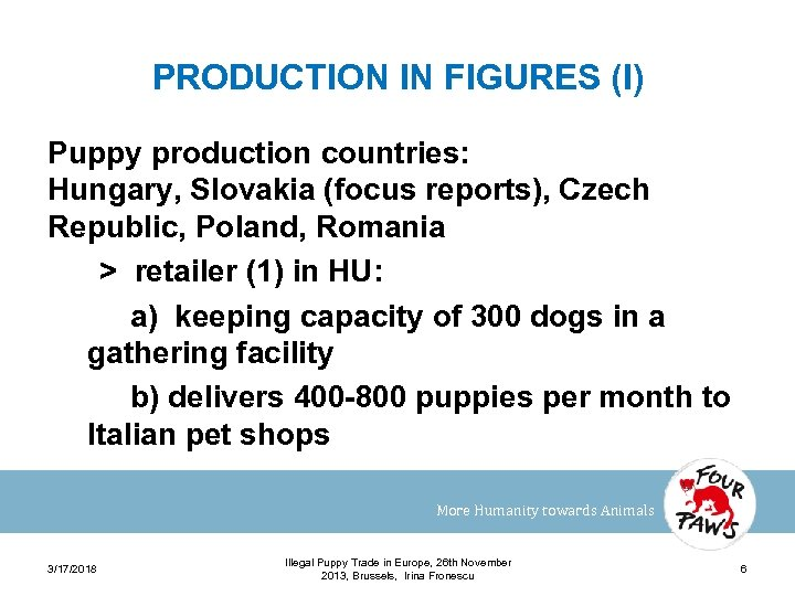 PRODUCTION IN FIGURES (I) Puppy production countries: Hungary, Slovakia (focus reports), Czech Republic, Poland,