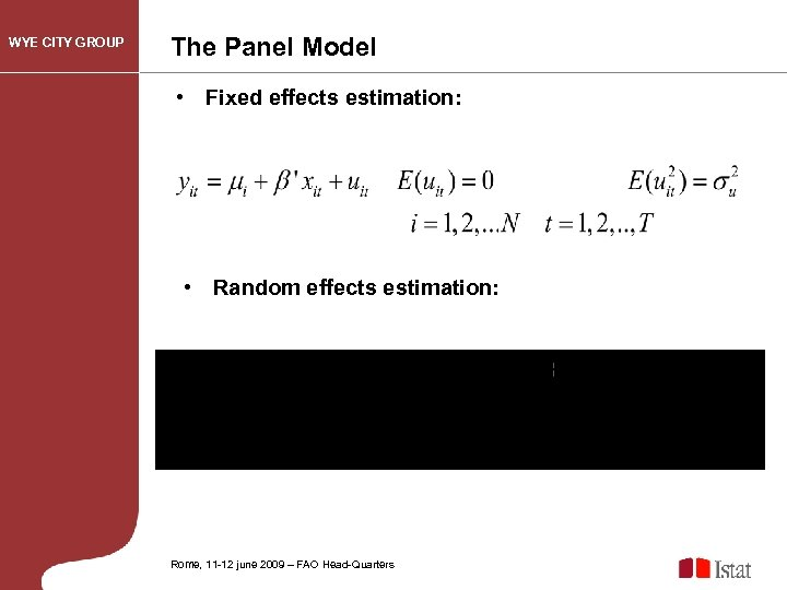 WYE CITY GROUP The Panel Model • Fixed effects estimation: • Random effects estimation: