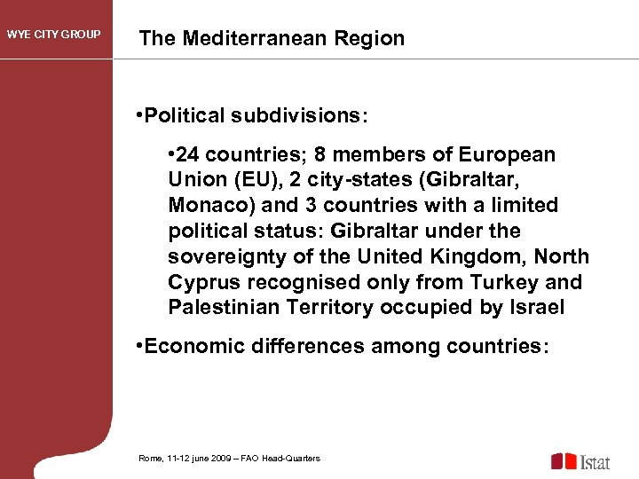WYE CITY GROUP The Mediterranean Region • Political subdivisions: • 24 countries; 8 members