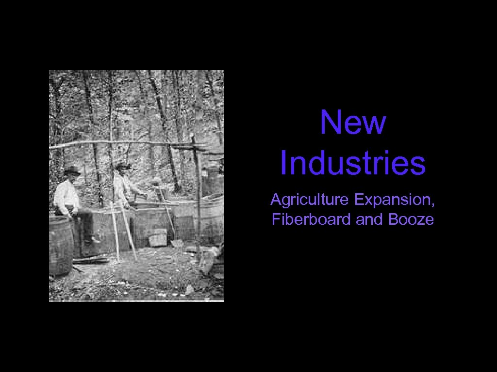 New Industries Agriculture Expansion, Fiberboard and Booze