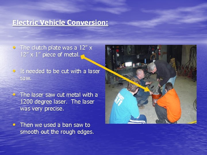 """Electric Vehicle Conversion: • The clutch plate was a 12"""" x 1"""" piece of"""