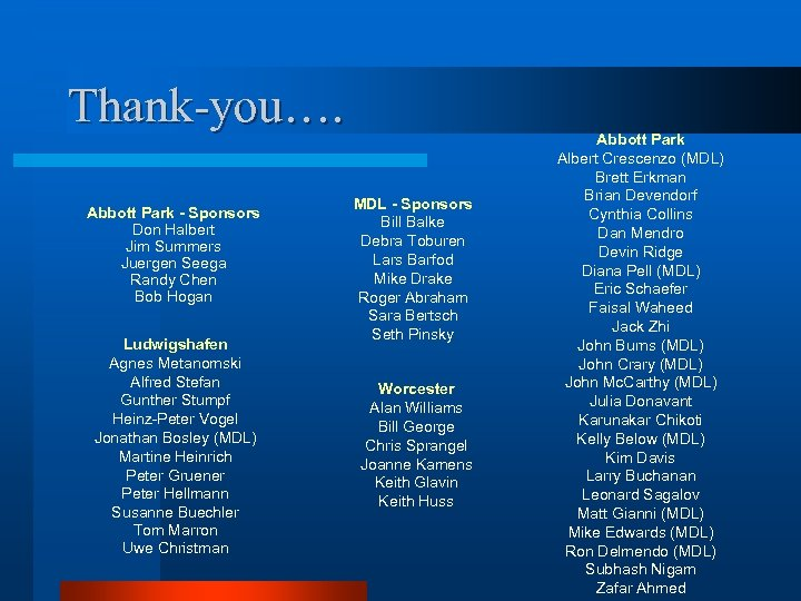 Thank-you…. Abbott Park - Sponsors Don Halbert Jim Summers Juergen Seega Randy Chen Bob