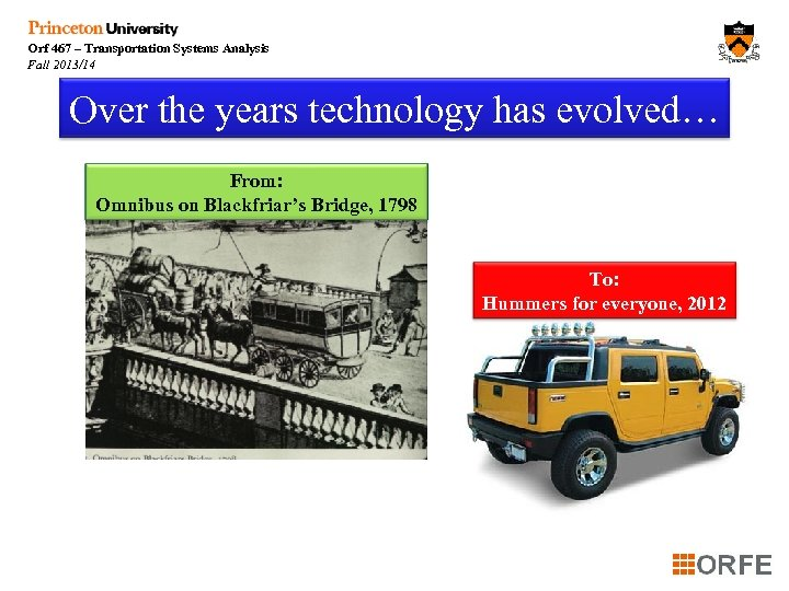 Orf 467 – Transportation Systems Analysis Fall 2013/14 Over the years technology has evolved…