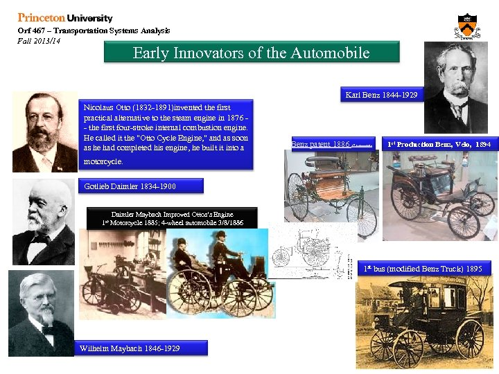 Orf 467 – Transportation Systems Analysis Fall 2013/14 Early Innovators of the Automobile Karl