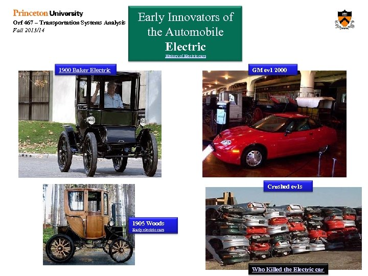 Orf 467 – Transportation Systems Analysis Fall 2013/14 Early Innovators of the Automobile Electric