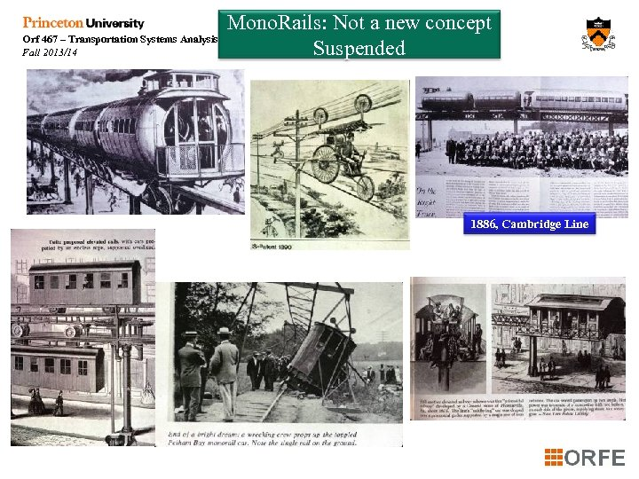Orf 467 – Transportation Systems Analysis Fall 2013/14 Mono. Rails: Not a new concept
