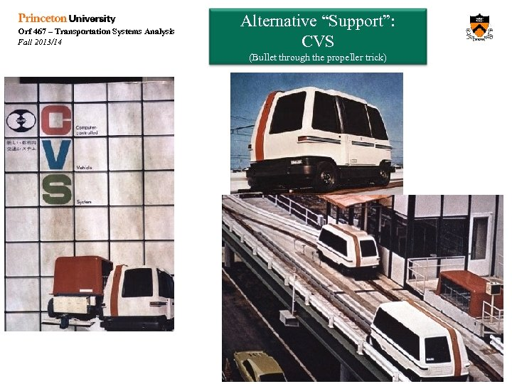 "Orf 467 – Transportation Systems Analysis Fall 2013/14 Alternative ""Support"": CVS (Bullet through the"