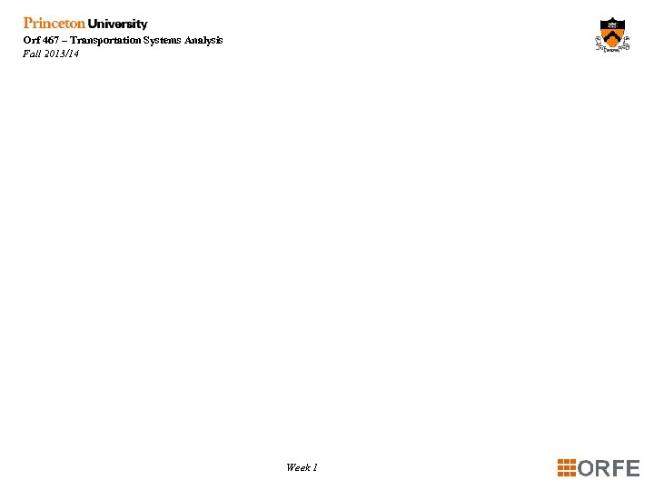 Orf 467 – Transportation Systems Analysis Fall 2013/14 Week 1