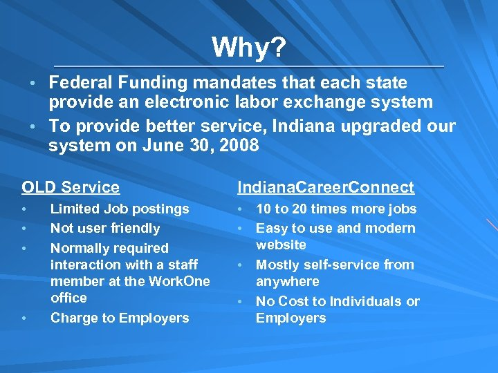Why? • Federal Funding mandates that each state provide an electronic labor exchange system