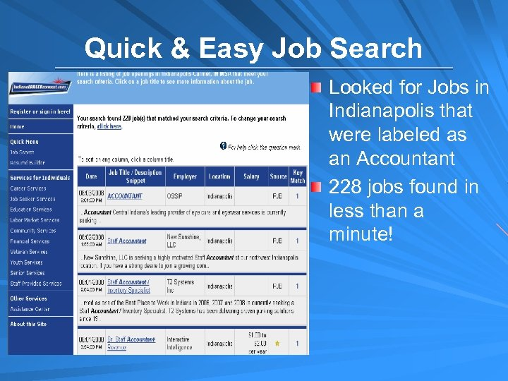 Quick & Easy Job Search Looked for Jobs in Indianapolis that were labeled as