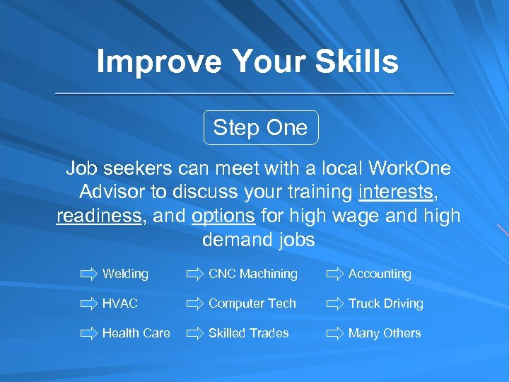 Improve Your Skills Step One Job seekers can meet with a local Work. One