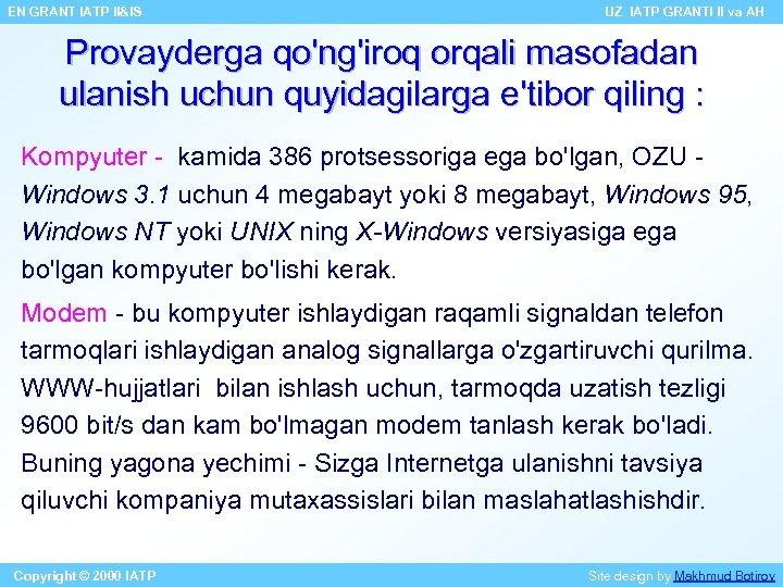 EN GRANT IATP II&IS UZ IATP GRANTI II va AH Provayderga qo'ng'iroq orqali masofadan