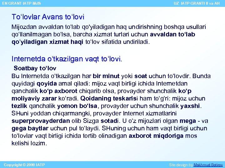 EN GRANT IATP II&IS UZ IATP GRANTI II va AH To'lovlar Avans to'lovi Mijozdan