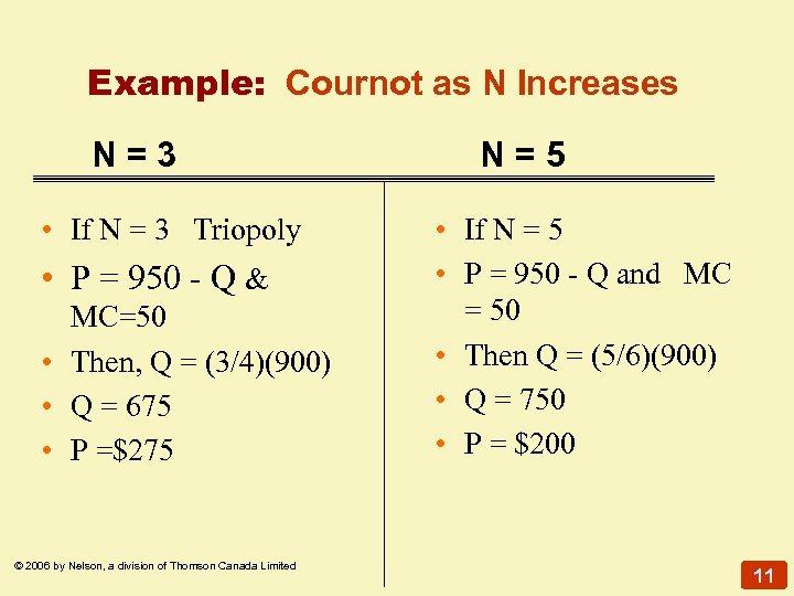 Example: Cournot as N Increases N=3 • If N = 3 Triopoly • P