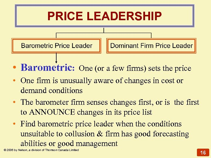 PRICE LEADERSHIP • Barometric: One (or a few firms) sets the price • One