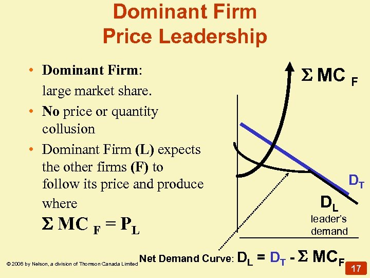 Dominant Firm Price Leadership • Dominant Firm: large market share. • No price or