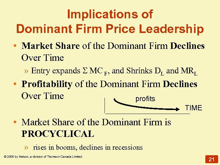 Implications of Dominant Firm Price Leadership • Market Share of the Dominant Firm Declines