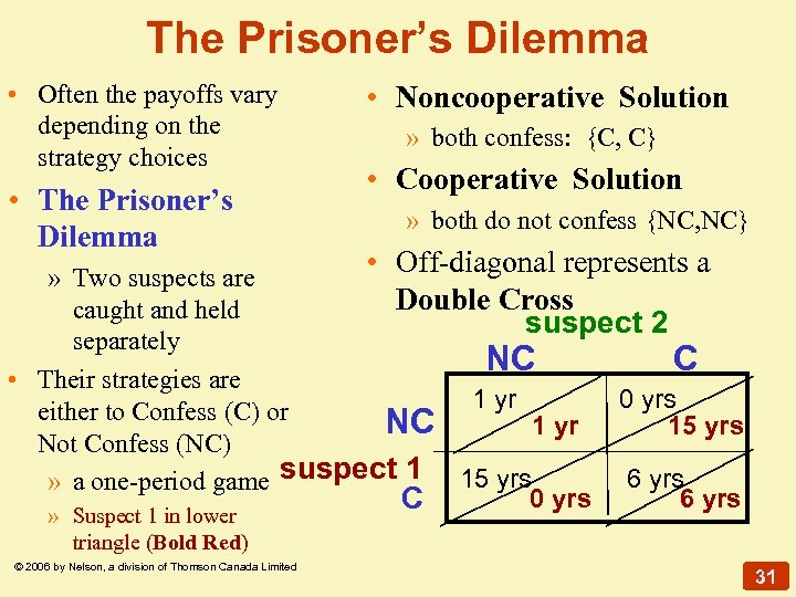 The Prisoner's Dilemma • Often the payoffs vary depending on the strategy choices •
