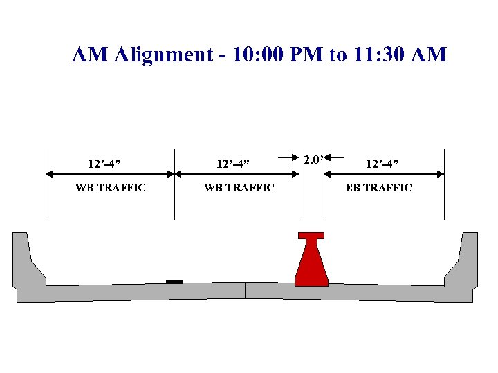 """AM Alignment - 10: 00 PM to 11: 30 AM 12'-4"""" WB TRAFFIC 2."""