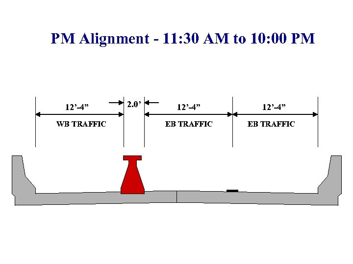 """PM Alignment - 11: 30 AM to 10: 00 PM 12'-4"""" WB TRAFFIC 2."""