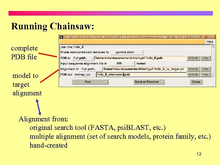 Running Chainsaw: complete PDB file model to target alignment Alignment from: original search tool