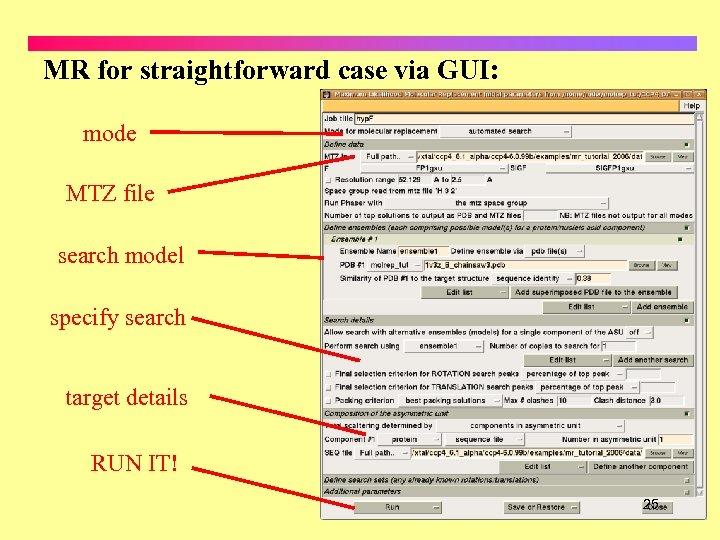 MR for straightforward case via GUI: mode MTZ file search model specify search target