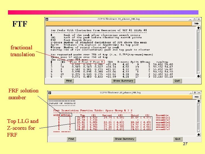FTF fractional translation FRF solution number Top LLG and Z-scores for FRF 27