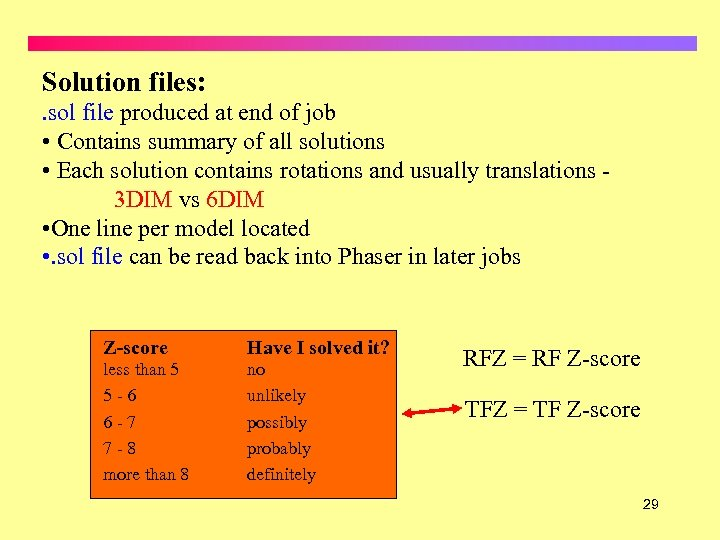 Solution files: . sol file produced at end of job • Contains summary of