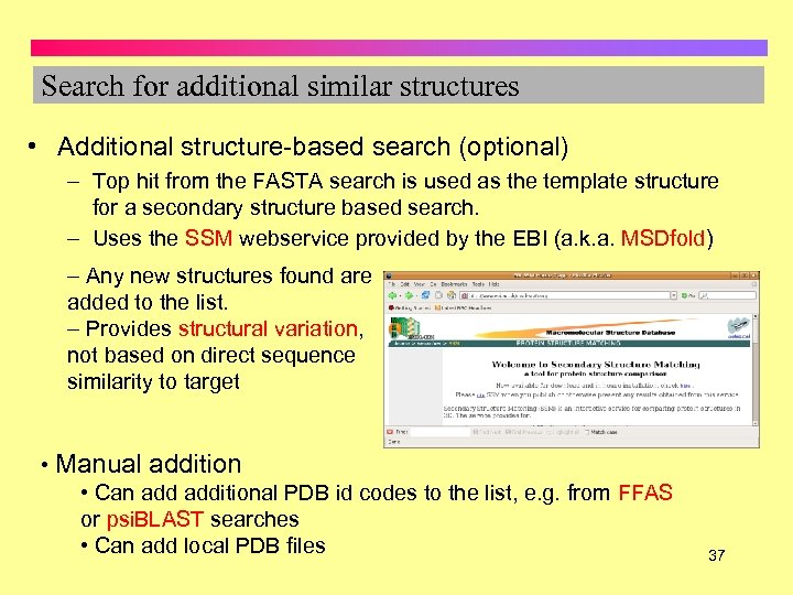 Search for additional similar structures • Additional structure-based search (optional) – Top hit from