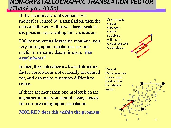 NON-CRYSTALLOGRAPHIC TRANSLATION VECTOR (Thank you Airlie) If the asymmetric unit contains two molecules related