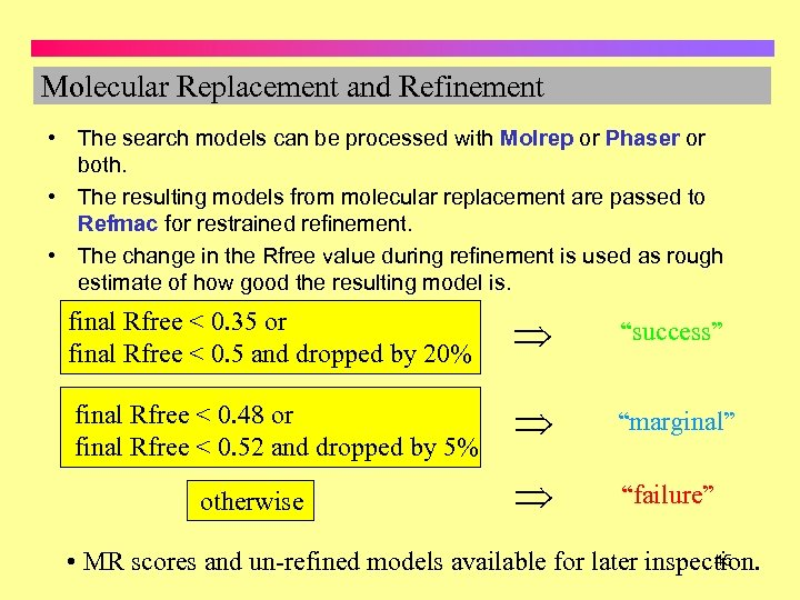 Molecular Replacement and Refinement • The search models can be processed with Molrep or