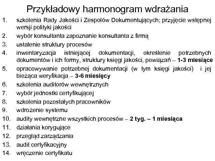 Przykładowy harmonogram wdrażania 1. 2. 3. 4. 5. 6. 7. 8. 9. 10. 11.