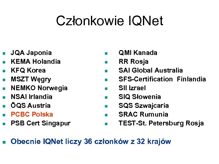 Członkowie IQNet n JQA Japonia KEMA Holandia KFQ Korea MSZT Węgry NEMKO Norwegia NSAI