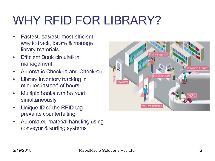 WHY RFID FOR LIBRARY? • • Fastest, easiest, most efficient way to track, locate