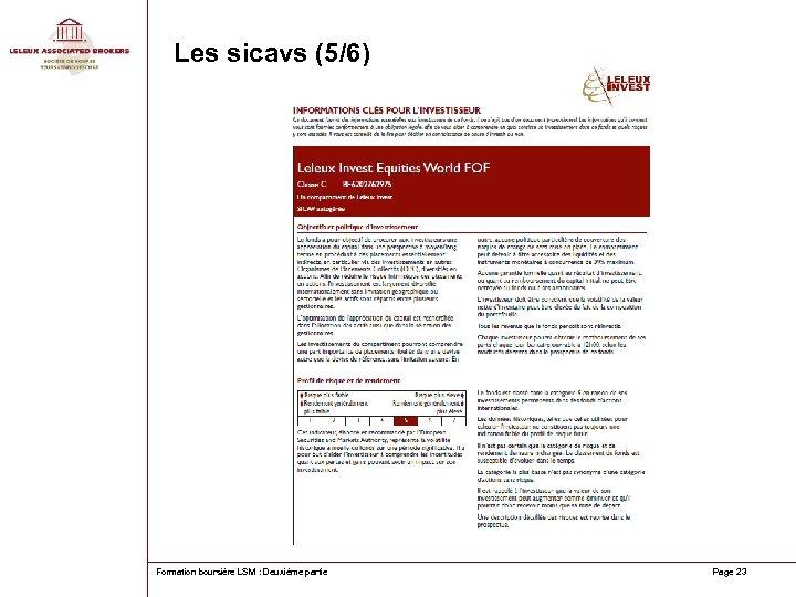 Les sicavs (5/6) Formation boursière LSM : Deuxième partie Page 23